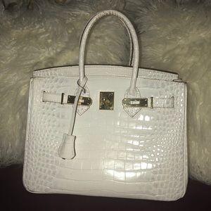 Handbags - White Birkin Inspired Bag